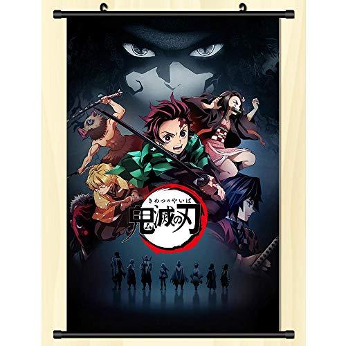 漫画の壁掛けポスターアート布家の装飾ファンギフト鬼滅の刃 50x75cm