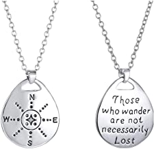 MUZHE Silver Compass Necklace,Charm Gold Traveler Necklace -Not All Who Wander are Lost, Direction of Life & I'd Be Lost Without You