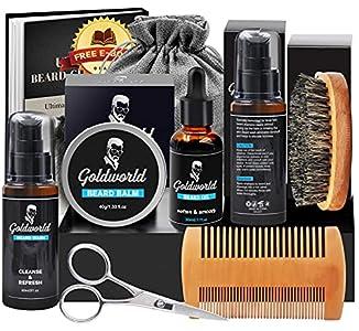 Kit Set Cuidado Barba con Libre Champu Barba,Cera Barba,Peine Barba,Cepillo Barba,Aceite Barba,Balsamo Barba,Tijeras Barba,Forma Barba,Productos Acondicionador Barba Crecer,Regalos para Hombres Papa