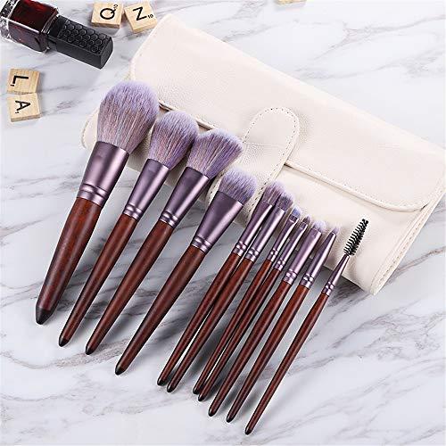 Pinceau de maquillage set 11 bâtons ensemble complet de poudre poudre blush pinceau fard à paupières pinceau correcteur, sac brosse beige