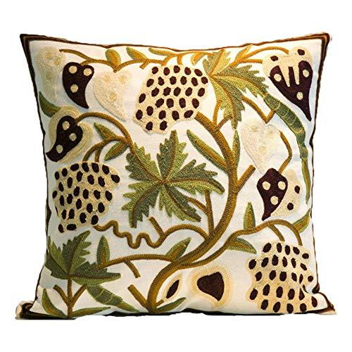 Zuodu - Funda de cojín para decoración del hogar, diseño de bordado nacional, bohemio, para decoración del hogar (planta 3)