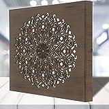 Cuadro Mandala de Pared Calada, Fabricada artesanalmente en España- Mandala 3D Cuadrada Pintada a Mano (123 NOGAL, 30x30 cm)