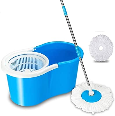 ALLWIN 360 Degree Spin Bucket Mop (PVC) with 2 Microfiber Heads (Blue)
