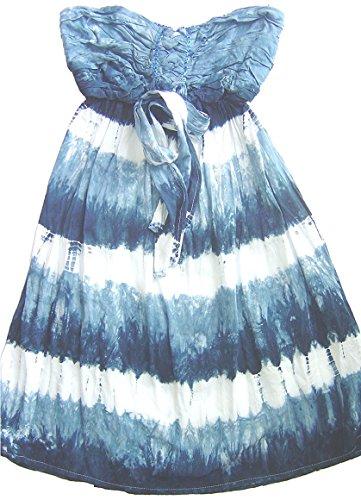 Salty Skin Kinder Strandkleid Bandeaukleid schulterfrei kurz - Blautöne - M - 152-11-12 Jahre - Strandkleid