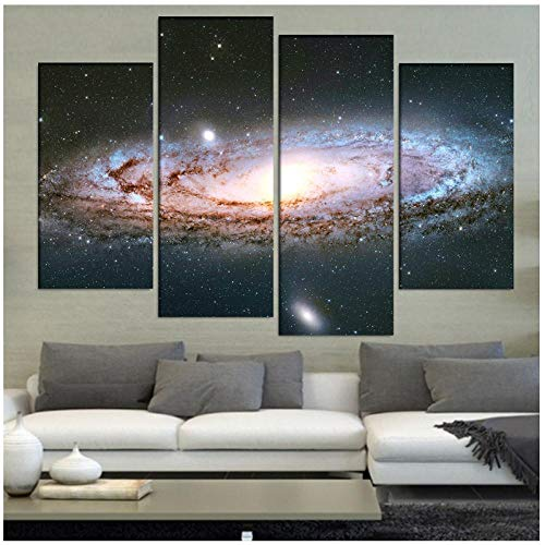 Ywsen Home Decor Canvas Woonkamer Gedrukt Moderne 4 Panel Abstract Andromeda Galaxy Foto's Schilderen Muur Art Poster (geen frame) 40x80x2 40x100cmx2