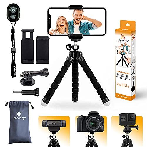 AXVARY-Treppiede smartphone, cellulari, stabilizzatore, cavalletto portatile. Compatibile con la Fotocamera, GoPro, Webcam. Mini treppiede, treppiede leggero Octopus.