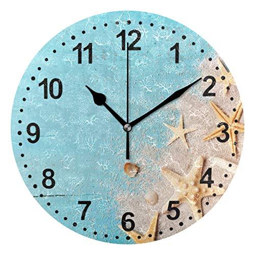 Mnsruu Wanduhr Non Ticking Silent Starfish Bad Uhr Küche Wanduhren für Wohnzimmer Dekor