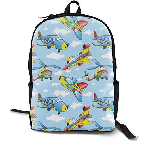 Karikatur-Flugzeuge und Hubschrauber Backpck mit glatten Reißverschlüssen, kampierende Rucksack-große Kapazitäts-Schulschulschulbuch-Taschen-diebstahlsichere vielseitige Umhängetasche im Freien