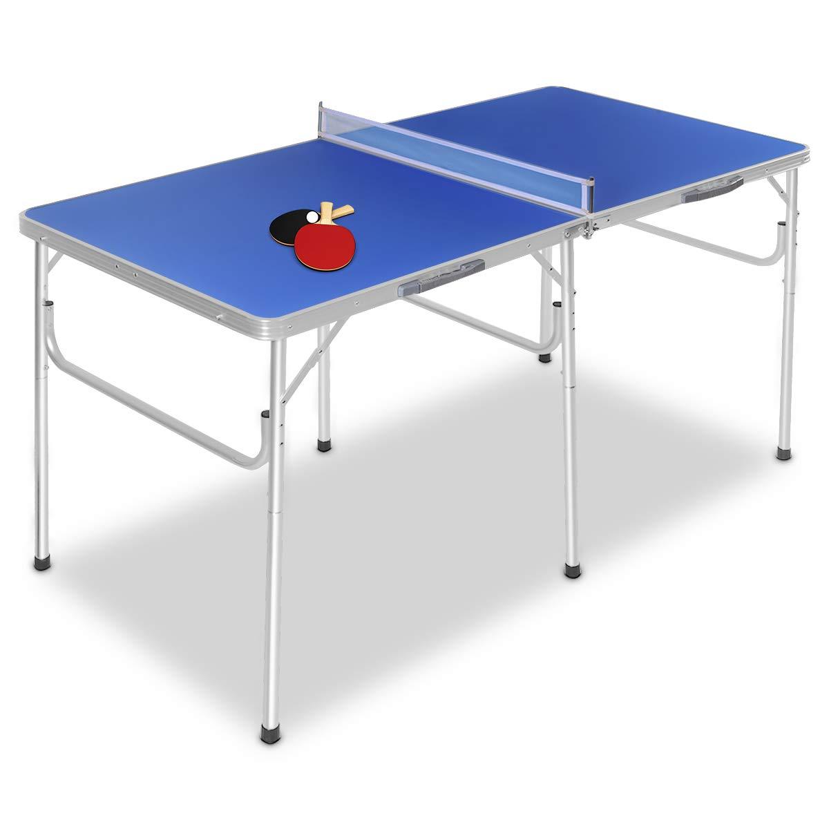 COSTWAY Mesa Ping Pong Plegable Tenis de Mesa con Red 152,4 x 76,2 x 76,2cm con Raquetas Pelotas y Red: Amazon.es: Deportes y aire libre