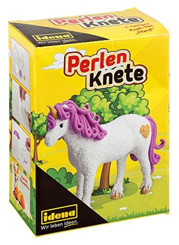 Idena 40283 - Perlenknete Bastelset Einhorn, mit Modellierform Pferd, lufttrocknender Knete und...
