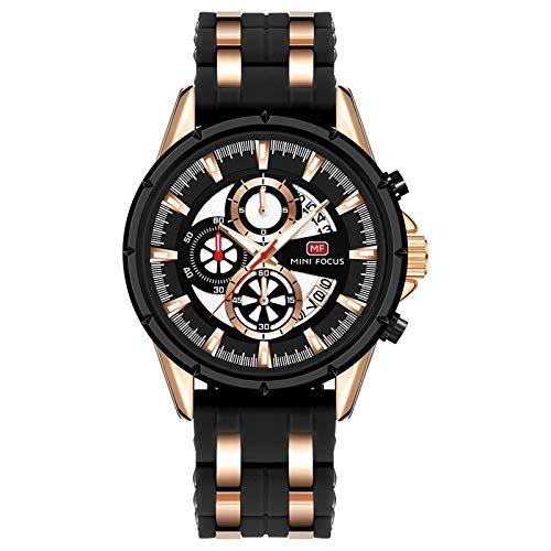 QZPM Reloj para Hombre De Cuarzo Calendario Analógico Multifunción Impermeable Cronógrafo Reloj De Negocios con Correa En Silicona,Rose Black
