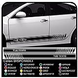 ADESIVI LATERALI PER AUTO UNIVERSALI STRISCE PERSONALIZZATE per AUTO versione RACING FASCE auto tuning stickers decals (NERO)