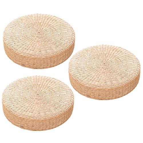 SJDWDX Cojín plano de paja de estilo japonés – Cojín redondo de Tatami – Almohada de piso transpirable tejida a mano para práctica de yoga Zen o meditación de Buda, 3 unidades de diámetro