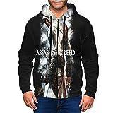 Assassin's Creed Men's Hoodies with Hat Zip-Up Hooded Sweatshirt Casual Hoody Teenagers Pullover
