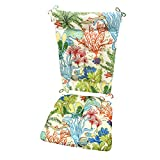Splish Splash Porch Rocker Cushion Set - Standard - Indoor/Outdoor: Fade Resistant, Weatherproof - Latex Foam Filled Rocking Chair Seat Cushion & Backrest Pad Set - Made in USA (Tropical Fish)