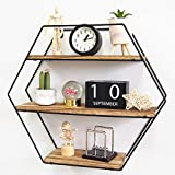 TFer Hexagon Floating Shelves Wall Mounted Shelves Solid Wood Metal Bracket Rustic Wall Shelf for Living Room Bedroom Bathroom Kitchen Office Hanging Shelf