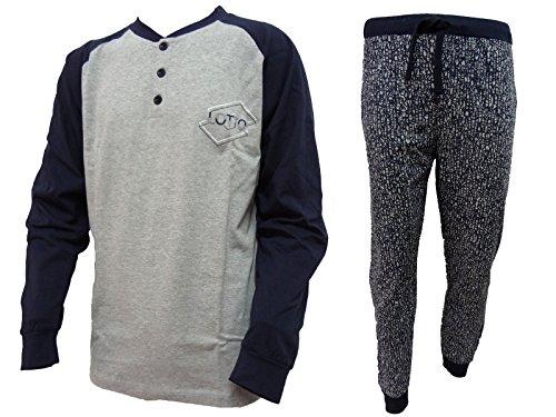 Lotto Pigiama Uomo Lungo Cotone Jersey Homewear Art. LP4019 (Grigio, S/46)