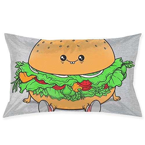 Pillowcase Veggie Burger Pillow Cover Standard Queen Size 20x30 Inch with Hidden Zipper for Home Bed Room Decorative Throw Pillow Case