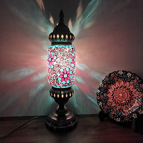 LANMOU Lámpara de Mesa Turco Mosaico, Lámpara de Escritorio Vintage Lámpara Turca Lámpara de Noche para Dormitorio Vidrio Marroquí Luz de Noche con Interruptor y Bombilla LED