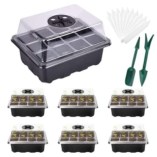 Viilich 6pcs Semillero Germinación Invernadero 12 Compartimentos con Bandeja macetas de Semillas para el Cultivo de Plantas Caja de Plantas para Plantas Anti Goteo Sets con Bandeja (Negro)