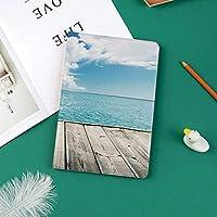 新しい ipad pro 11 2018 ケース スリムフィット シンプル 高級品質 手帳型 柔らかな内側 スタンド機能 保護ケース オートスリープ 傷つけ熱帯の雲空の風景と木のデッキからカリブ海の画像印刷