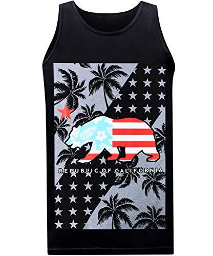 tees geek California Tropic Men's Muscle Tee Tank Top - (Small) - Black
