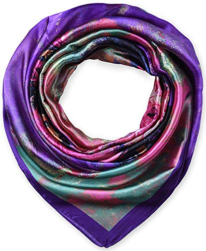 Large Square Satin Silk Like Lightweight Scarfs Hair Sleeping Wraps for Women Purple Pink Flowers