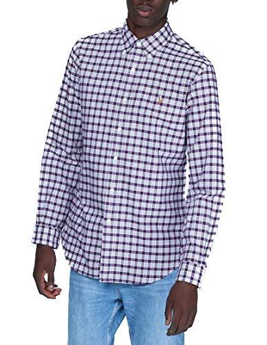 Camicia Ralph Lauren Oxford Custom Fit Quadretti Granata Uomo Large Rosso