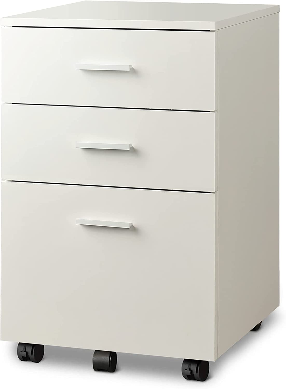DEVAISE 3 Drawer Wood Mobile File Cabinet, Rolling Filing Cabinet for Letter/A4 Size, White