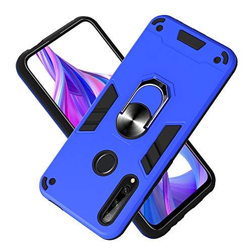 Hülle für Huawei Enjoy 10 Plus mit Standfunktion, PC + TPU Rüstung Defender Ganzkörperschutz Hard Bumper Silikon Handyhülle stossfest Schutzhülle Case (Dunkelblau)