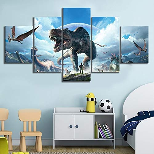 Ark Survival Evolved Video Game Poster Hd Wall Pictures for Bedroom Decor Canvas Art(NO Frame Size 3)