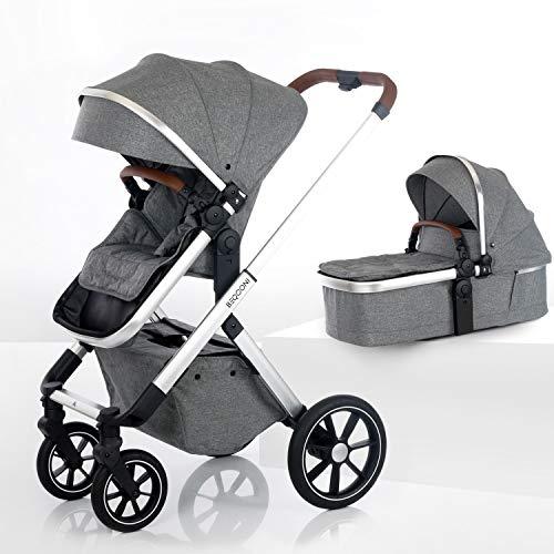 BEQOONI® Kinderwagen 2 in 1 Kombikinderwagen mit Babywanne & Buggy/Sportaufsatz, kleines Klappmaß, Panoramafenster in Babywanne und Verdeck, Farbe: Sparkling Grey