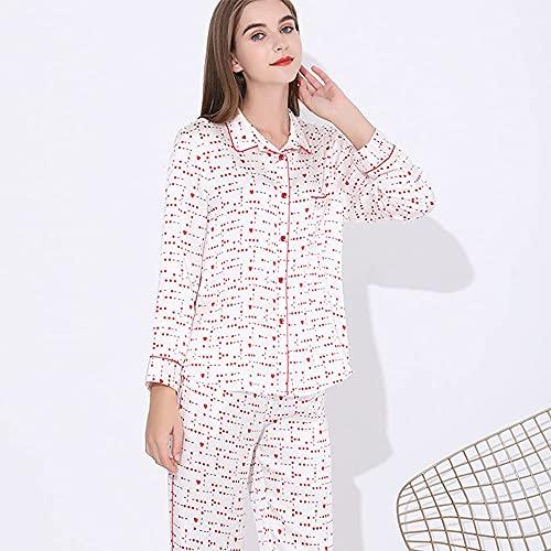 Pijamas de seda Seda de la seda Seda de la princesa de manga larga del estilo de la princesa El traje de servicio doméstico se puede usar fuera de la primavera y el ocio y la comodidad del estilo de o