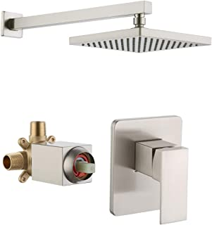 KES Pressure Balance Shower Valve and Trim Kit Combo Concealed Brass Shower Faucet Body with Faceplate Rainfall Shower Head and Supply Arm Single Handle Modern Square Brushed Nickel, XB6210-BN