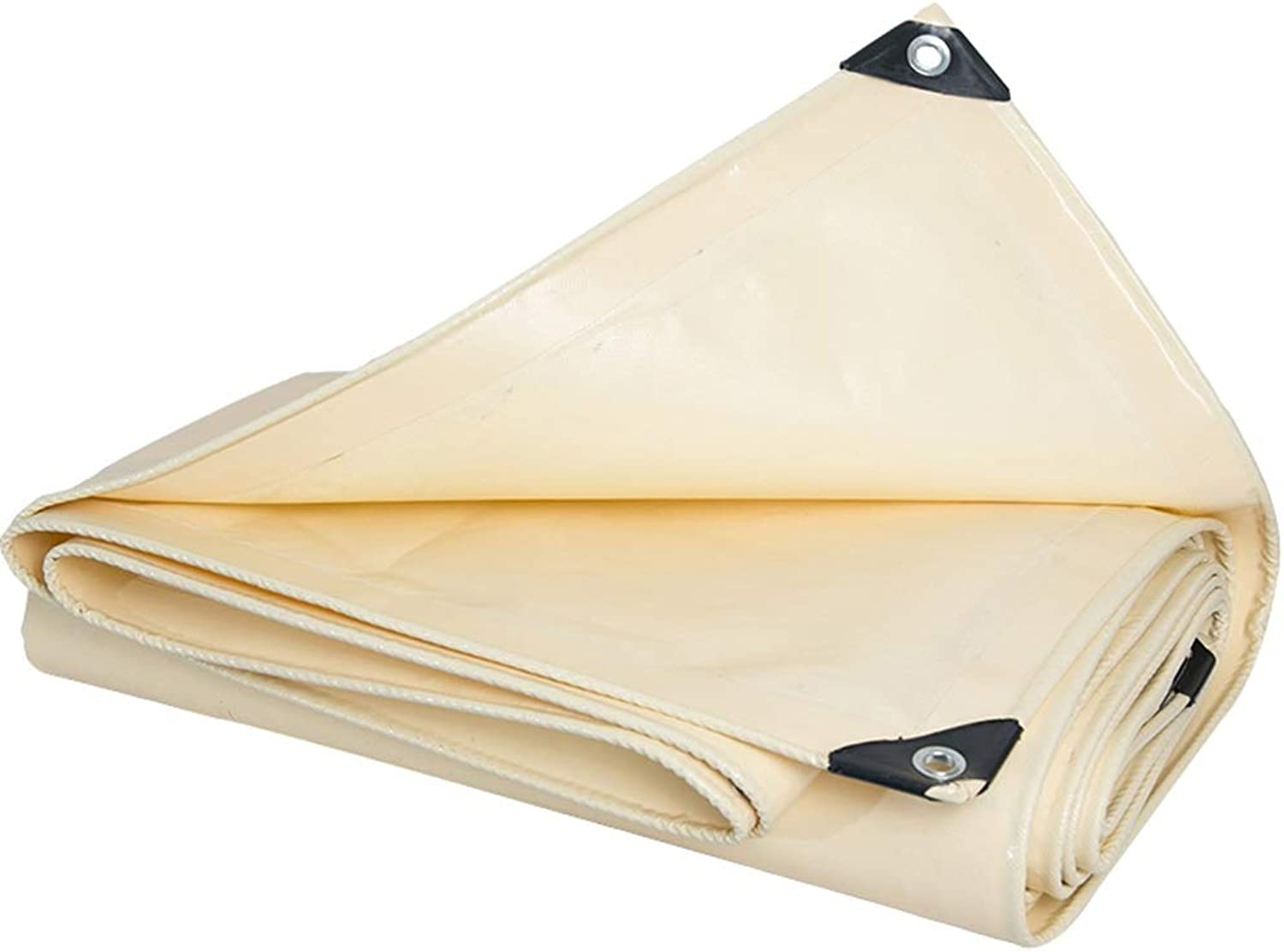 Tarps PVC Outdoor Heavy Duty Tarpaulin Waterproof Sunscreen Knife Scraping Cloth Stage Canvas Thicken Rainproof Shed Cloth, High-Density Woven Beige Cloth Waterproof Tarpaulin (Size   3m×5m)
