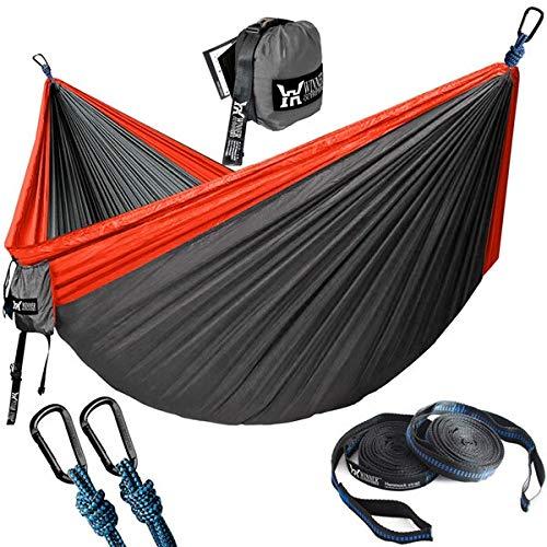 Actualiza Camping Hamaca al Aire Libre Turismo Colgantes Hamacas portátil paracaídas de Nylon Senderismo Hamaca for Viajes con Mochila (Color : Red and Dark Grey)