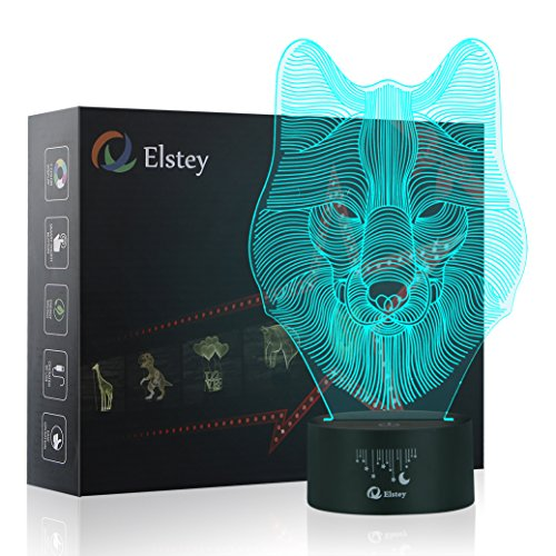 Animals Wolf 3D Night Light Touch Table Desk Lamps, Elstey 7 Color Changing Lights with Acrylic Flat & ABS Base & USB Cabler