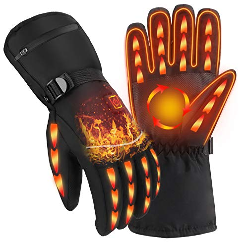 Heated Gloves, Winter Gloves for Men Women 3 Levels Temperature Control Rechargeable 4000 mAh Battery Electric Hand Warmers Waterproof Thermal Gloves for Cold Weather Running Hunting Motorcycle Ski