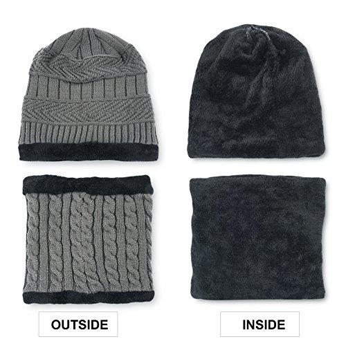 Vbiger Wintermütze Warm Beanie Strickmütze und Schal mit Fleecefutter (Grau) - 4