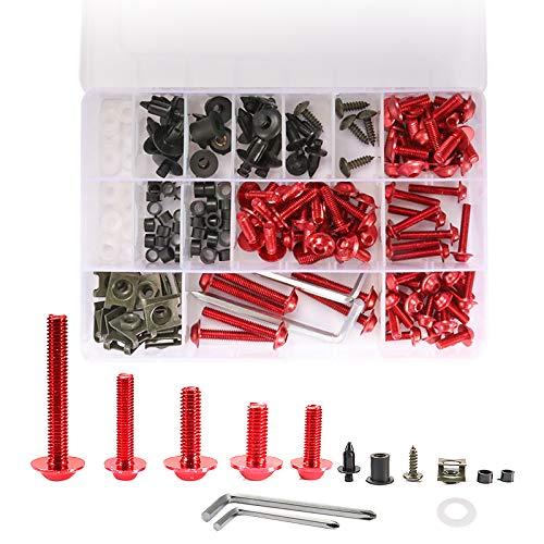 194 piezas motocicleta aluminio M5 M6 carenado tornillos Kit sujetador clip Pit Dirt Bike para Honda Yamaha Suzuki Kawasaki (rojo)