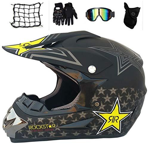 MRDEAR Casco Descenso Integral, Negro Mate/Rockstar, Niño Casco Motocross MTB Motocicleta Cascos...