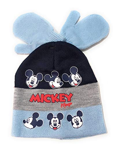 Gorro y Manoplas Mickey Mouse para Niños - Set Invierno Disney Baby...
