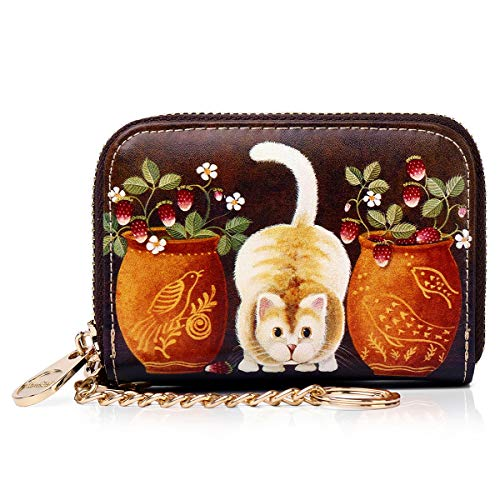 APHISON カードケース レディース カード入れ ミニ財布 じゃばら式 財布 人気 磁気防止 軽量 動物柄 花柄 カワイイ ギフト ボックス付き 1942-1 花瓶&猫054