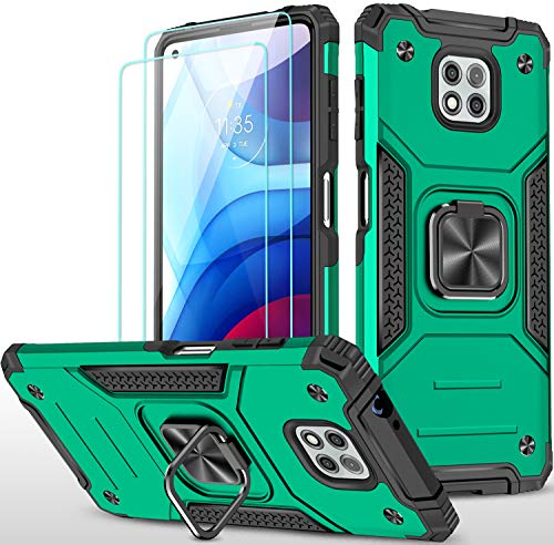 Amytor Designed for Motorola Moto G Power 2021 Case[2xTempered Glass Screen Protector][Military Grade] 17Ft Drop Tested Armor Protective Phone Case with Magnetic Car Mount Ring Kickstand(Dark Green)