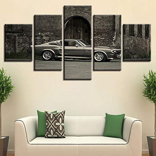 LHMTZ Fünf Module, dekorative Gemälde 200 * 100CM Modernes Oldtimer Bilder wandbild vlies - leinwand Bild Format wandbilder Wohnzimmer Wohnung deko kunstdrucke 5 teilig