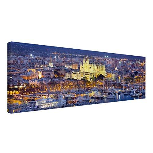 Bilderwelten Cuadro en Lienzo - Palma De Mallorca City Skyline and Harbor - Panorama Apaisado, Cuadros Cuadro Lienzo Cuadro sobre Lienzo Cuadro Moderno Cuadro Decoracion, Tamaño: 60 x 180cm
