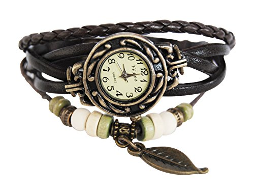 axy Lederarmbanduhr Serie 3A LEDAU3AL-3 Leaf! Damen Armband Leather Bracelet Uhr Armreif Armbanduhr