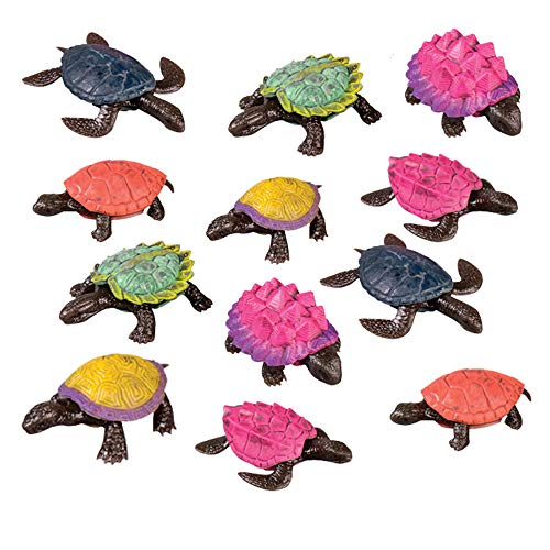 Kicko Stretchy Turtle Toys - 12 Pack Assorted 2 Inch Tortoise Dolls - for Fidgeting Pretend Play Party Favors Decoration