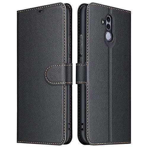 ELESNOW Hülle für Huawei Mate 20 Lite, Premium Leder Flip Wallet Schutzhülle Tasche Handyhülle für Huawei Mate 20 Lite (Schwarz)