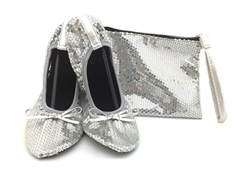 Shoes 18 Women's Foldable Portable Travel Ballet Flat Shoes w/Matching Carrying Case Silver Sequin 9/10